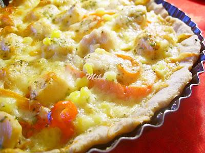 Pizza cu blat crocant cu pui si legume