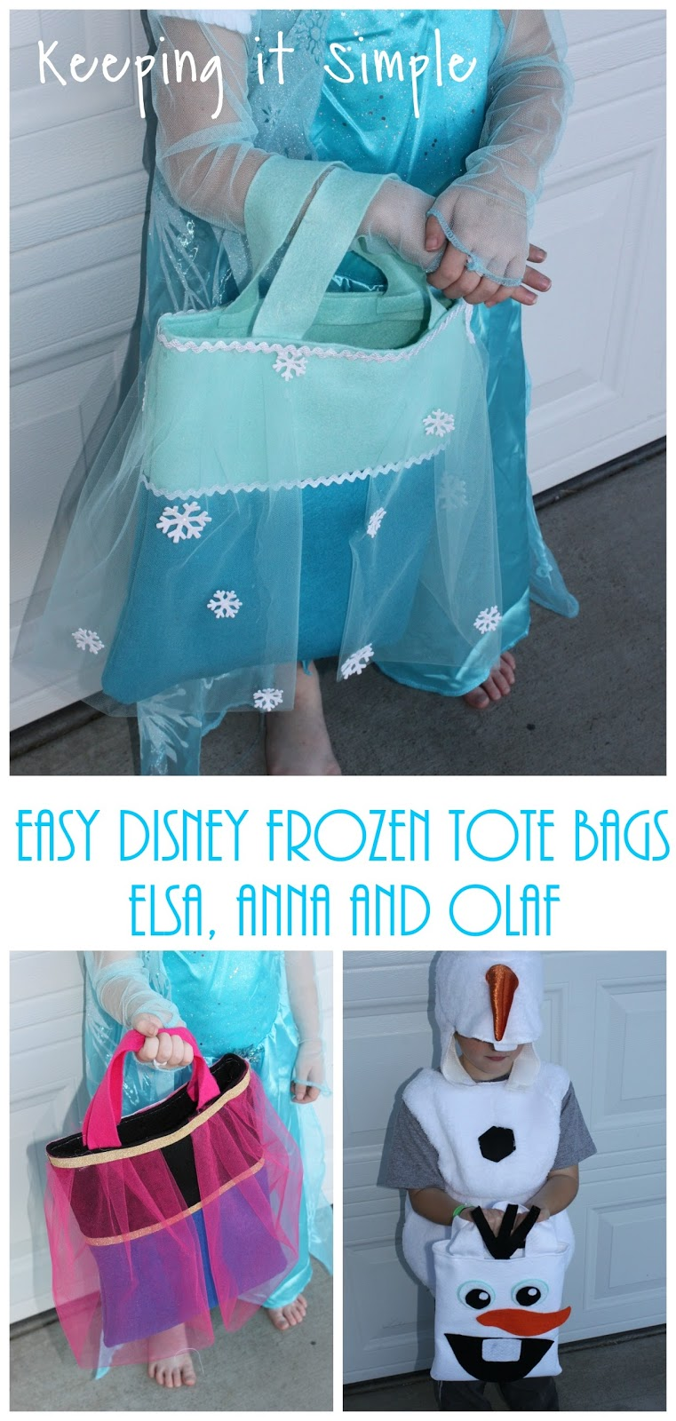 Easy Disney Frozen Tote Bags Elsa Anna And Olaf Perfect For Treat Or Trick