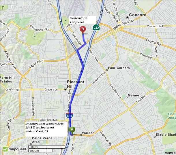 Driving Directions from Embassy Suites Walnut Creek to Waterworld California. 5 minutes/3.5 miles.