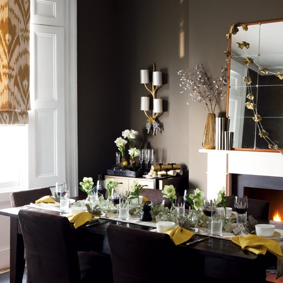 New home interior design timeless christmas decorating for Dark grey dining room ideas