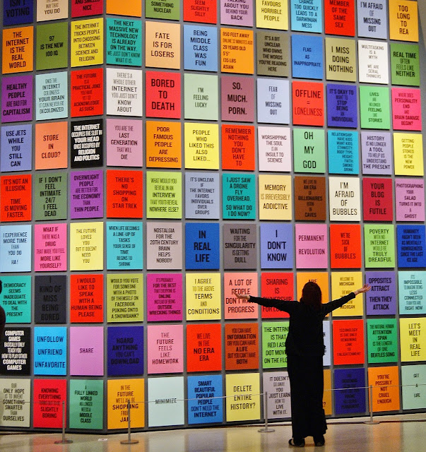Douglas Coupland: everywhere is anywhere is everything is anything exhibition at Royal Ontario Museum in Toronto, culture, art, artmatters, the purple scarf, melanie.ps, ontario, canada, generation x, artist, installation, slogans for the 21st century