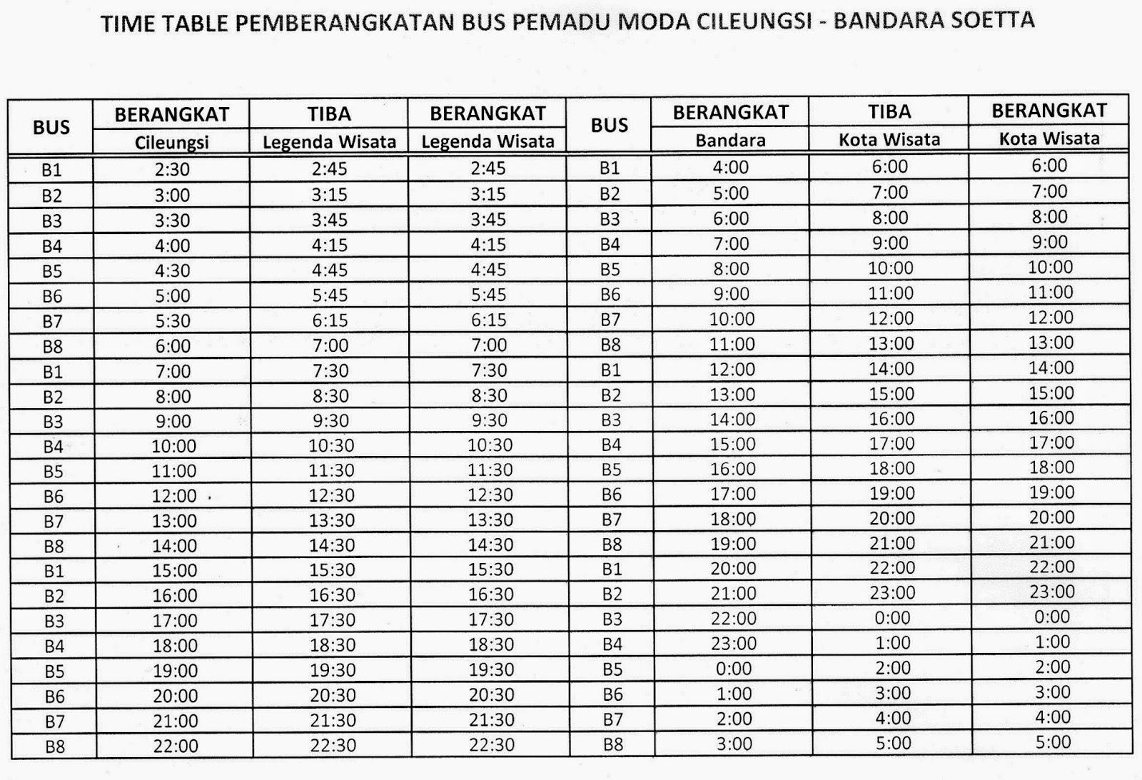 Jadwal shuttle bus jurusan Cileungsi - Bandara Sukarno - Hatta