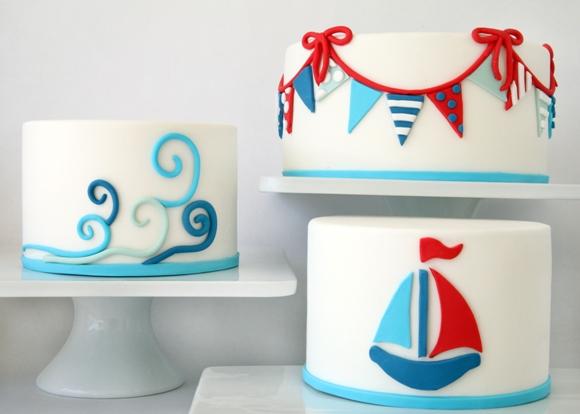Trio Of DIY Nautical Cakes Using Sugar Paste Fondant   Via BirdsParty.com