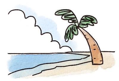 ビーチのイラスト「ヤシの木と入道雲」