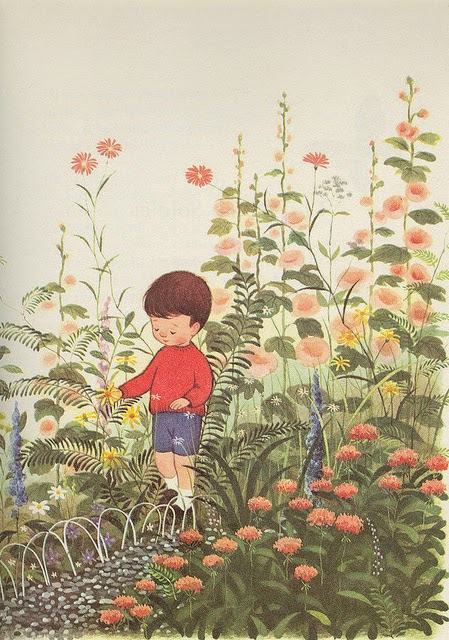 illustration by Gyo Fujikawa of a boy in a flower garden
