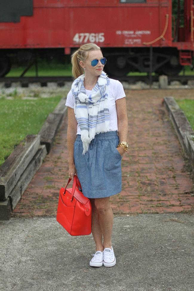 loft chambray skirt