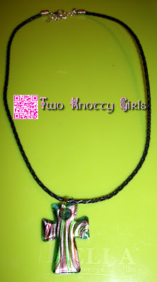Handmade Necklace - Green, Purple & Silver Glass Cross