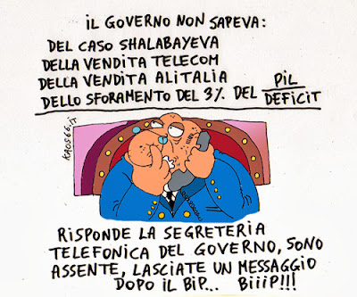vignetta: governo ladro shalabayeva telecom alitalia