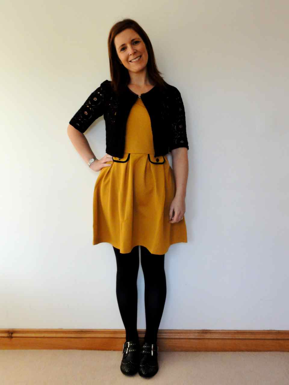 Combination of black and yellow dress