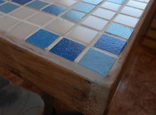 mosaico, mosaico azul e branco