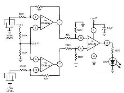 Dual Level Liquid Sensoron Electronic Timer Circuit