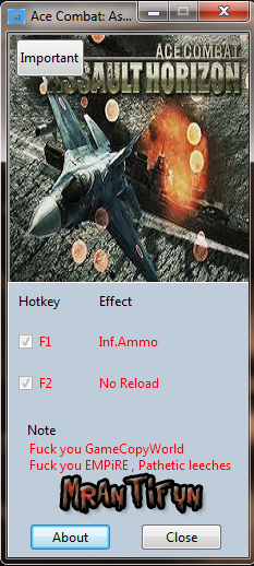 Ace Combat Assault Horizon V1.0.177 trainer +2 MrAntiFun