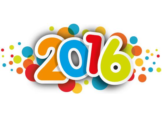 Nuevo año 2016 en coloridas pegatinas   Vector Clipart