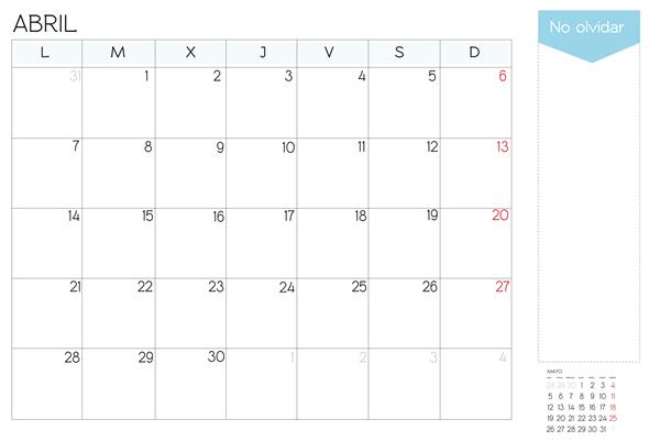 calendario mes de abril 2014 para imprimir