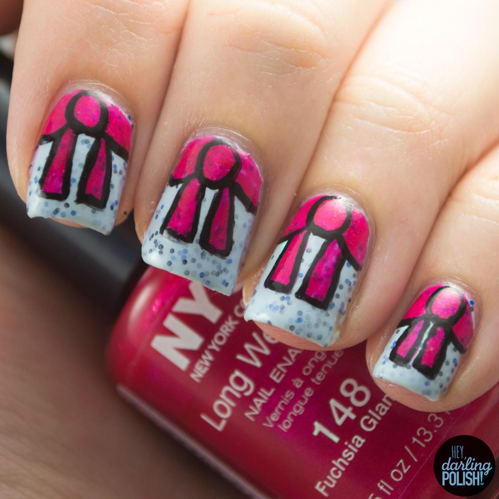 nails, nail art, nail polish, polish, bows, cute, theme buffet, hey darling polish, blue, pink