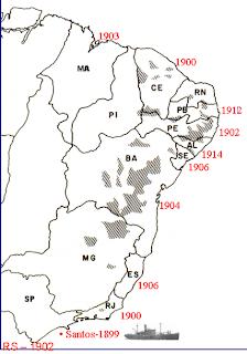 Portos de entrada da Peste no Brasil em 1899  a 1914