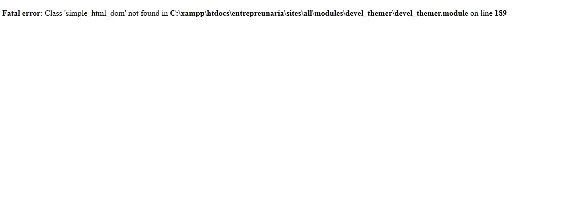 Comment résoudre l'erreur 'Class 'simple_html_dom' not found in … /devel_themer.module on line 189′ de Drupal, A Unix Mind In A Windows World