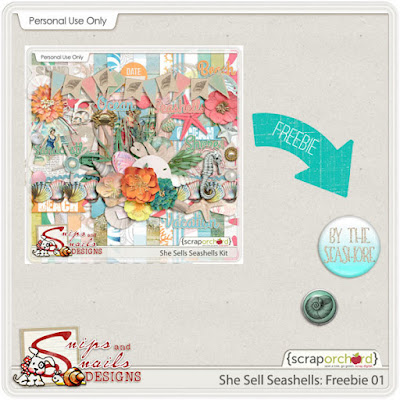 She Sells Seashells Digital Scrapbook Freebie by Snips and Snails Designs