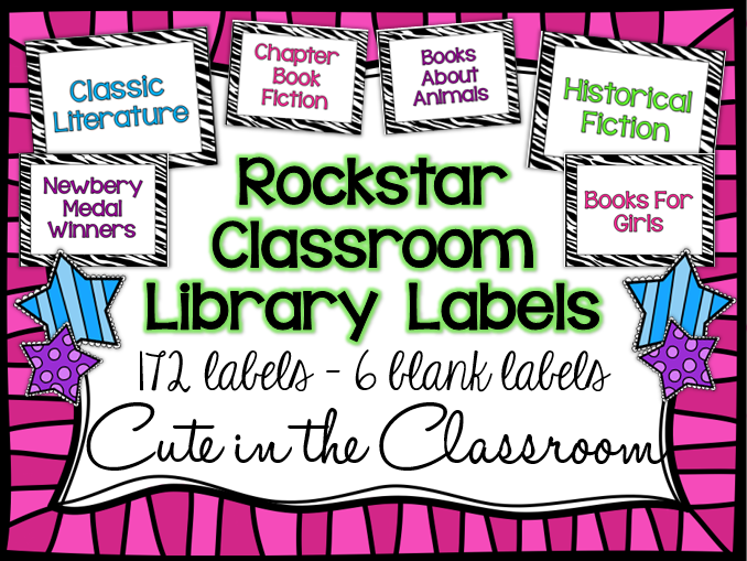 http://www.teacherspayteachers.com/Product/Zebra-Rockstar-Classroom-Library-Labels-1278006