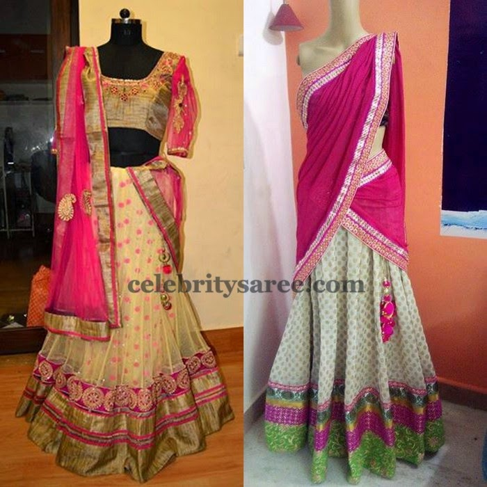 Pretty Half Saree in Cream and Pink