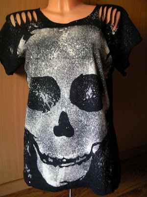 czaszki diy gothic psychobilly kości koszulka punk horror