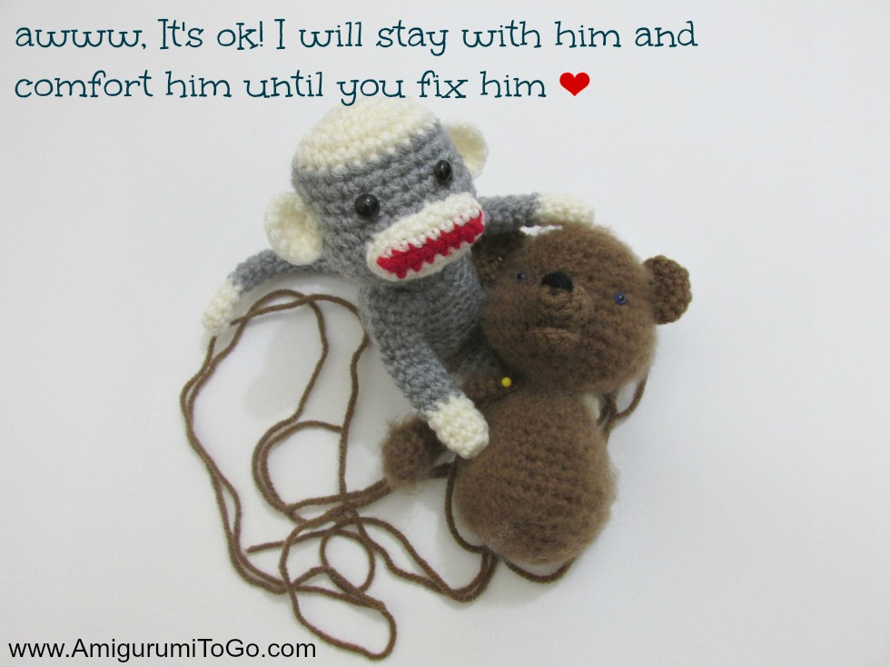 crochet monkey and bear