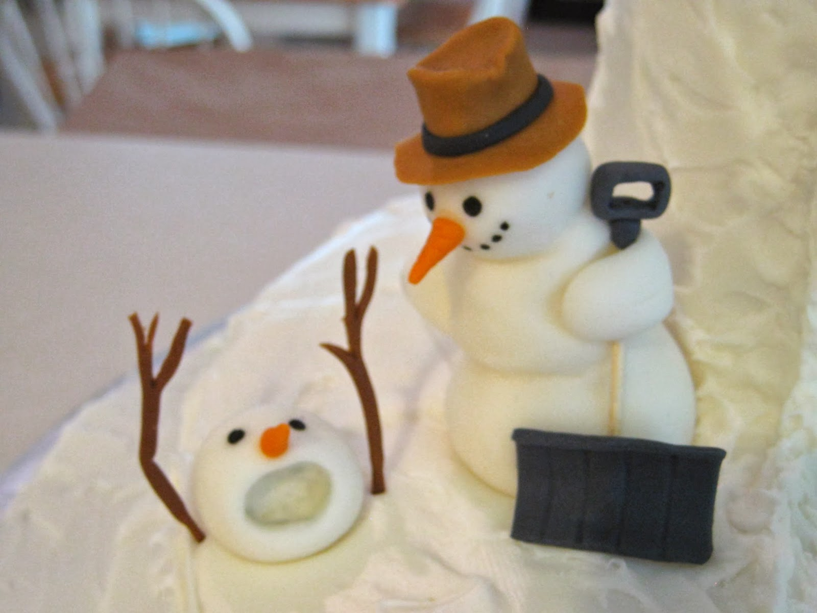 Calvin and Hobbes Snowmen Cake - Fondant Snowman with Shovel and Snowman Buried in Snow