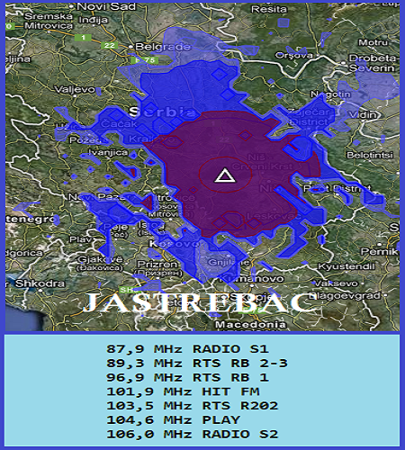 Mapa pokrivenosti Jastrebac