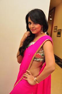 Anasuya Looks So cute and beautiful homely girl in Pink Saree with Golden Jari Border