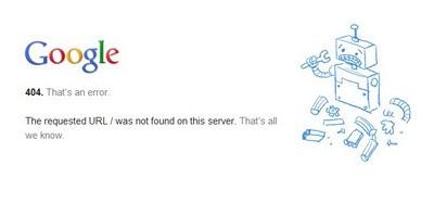 404 Error Page Google