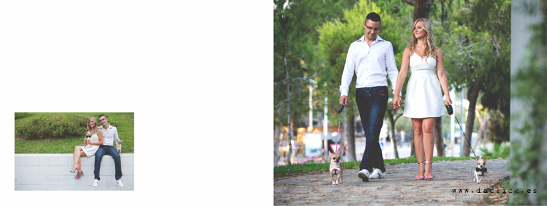 novios dando un paseo con perros chihuahua
