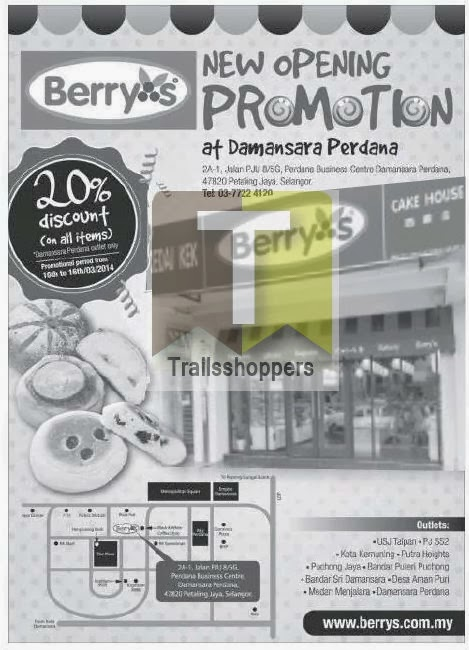 Berry's Cakehouse New Store Damansara Perdana Promotion Sale