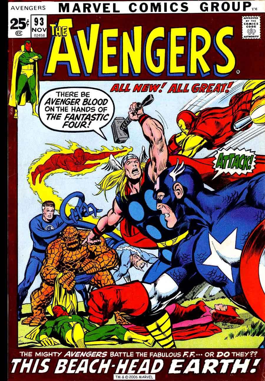 Avengers V1 93 Marvel Comic Book Cover Art By Neal Adams
