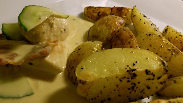kyckling i senapsås, senap, senapsås, kyckling, bacon, gryta, recept, sommar, middagsbjudning