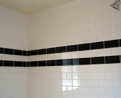 The tile shop design by kirsty our new black subway tile for Black and white subway tile bathroom ideas