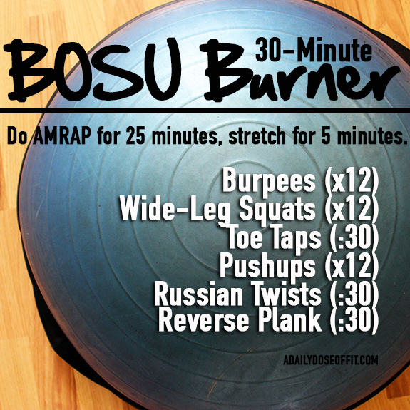 AMRAP, BOSU, workouts, exercises, burpees