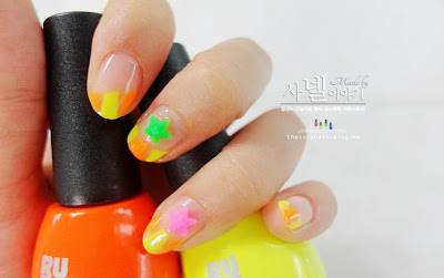 Simple nail art, nudie nails, cutie fluorescent nail