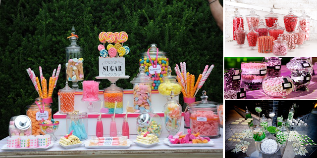 Candy bar con recipientes de cristal