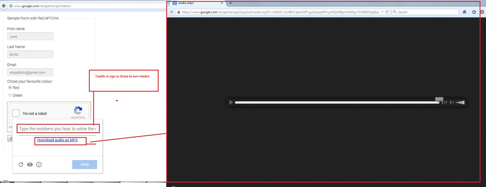 Google ReCAPTCHA – I'm not a robot - Issues -  http://www.google.com/recaptcha/api2/demo