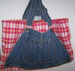 Recycled Bib Overall Denim Pink Plaid Tote Hand Book Bag