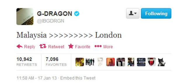 G-Dragon tweet 130117