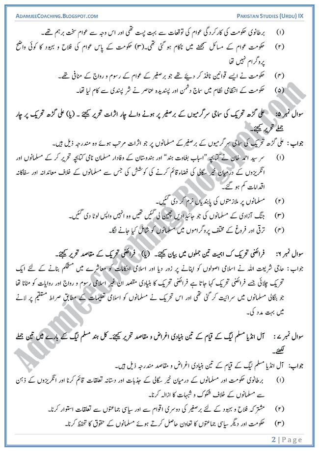 Making-of-Pakistan-Short-Question-Answers-Pakistan-Studies-Urdu-IX