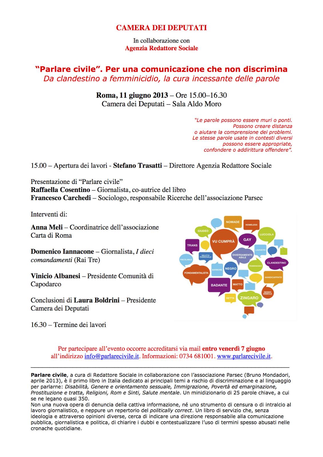 Parlare civile con laura boldrini 11 giugno 2013 camera for Presidente camera dei deputati 2013