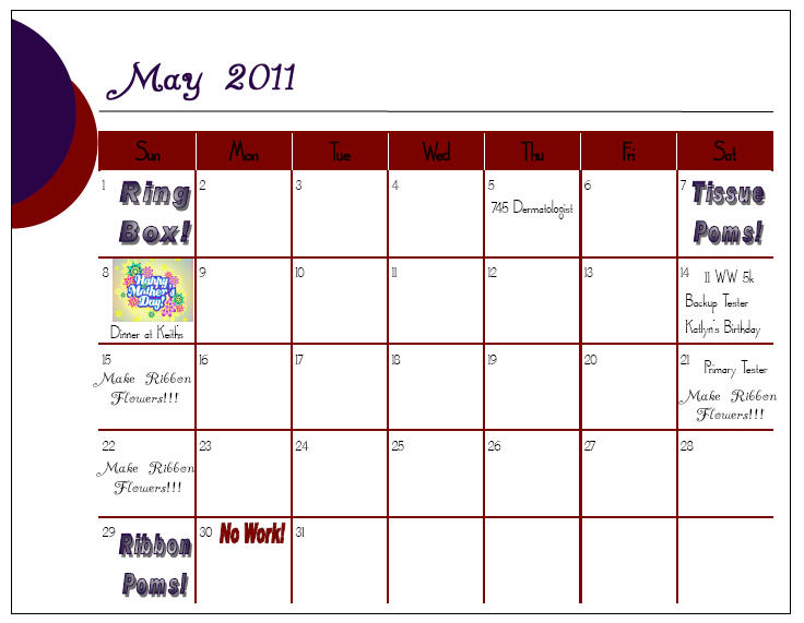 Calendar Craze May : Wouldn t change it for the world april showers bring