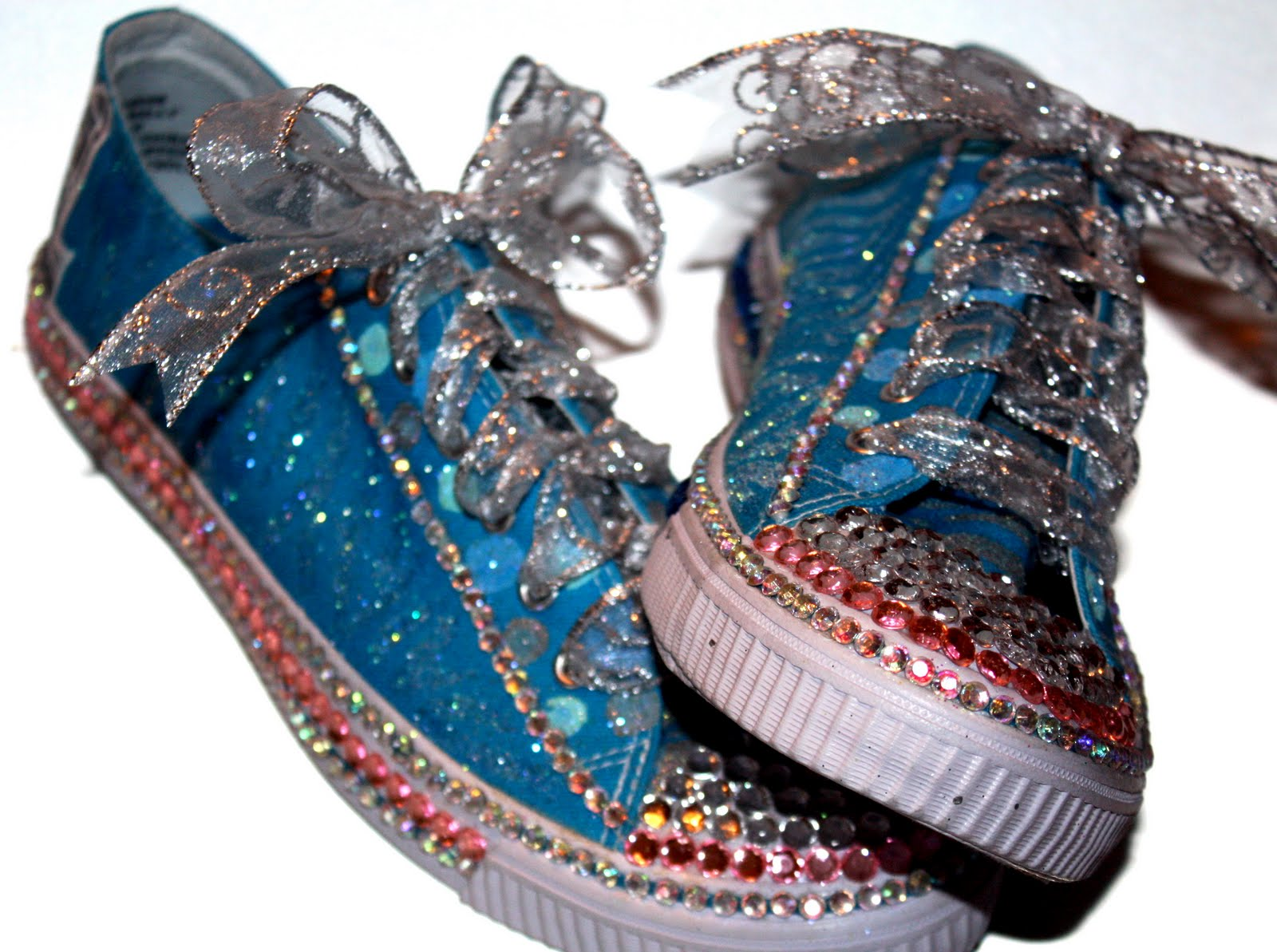 3pinkribbons bling prom tennis shoes