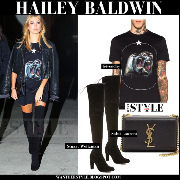 Hailey Baldwin in black gorilla print Givenchy tee and black suede over the knee stuart Weitzman boots new york fashion week 2015