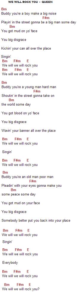 we will rock you acordes y letra de queen