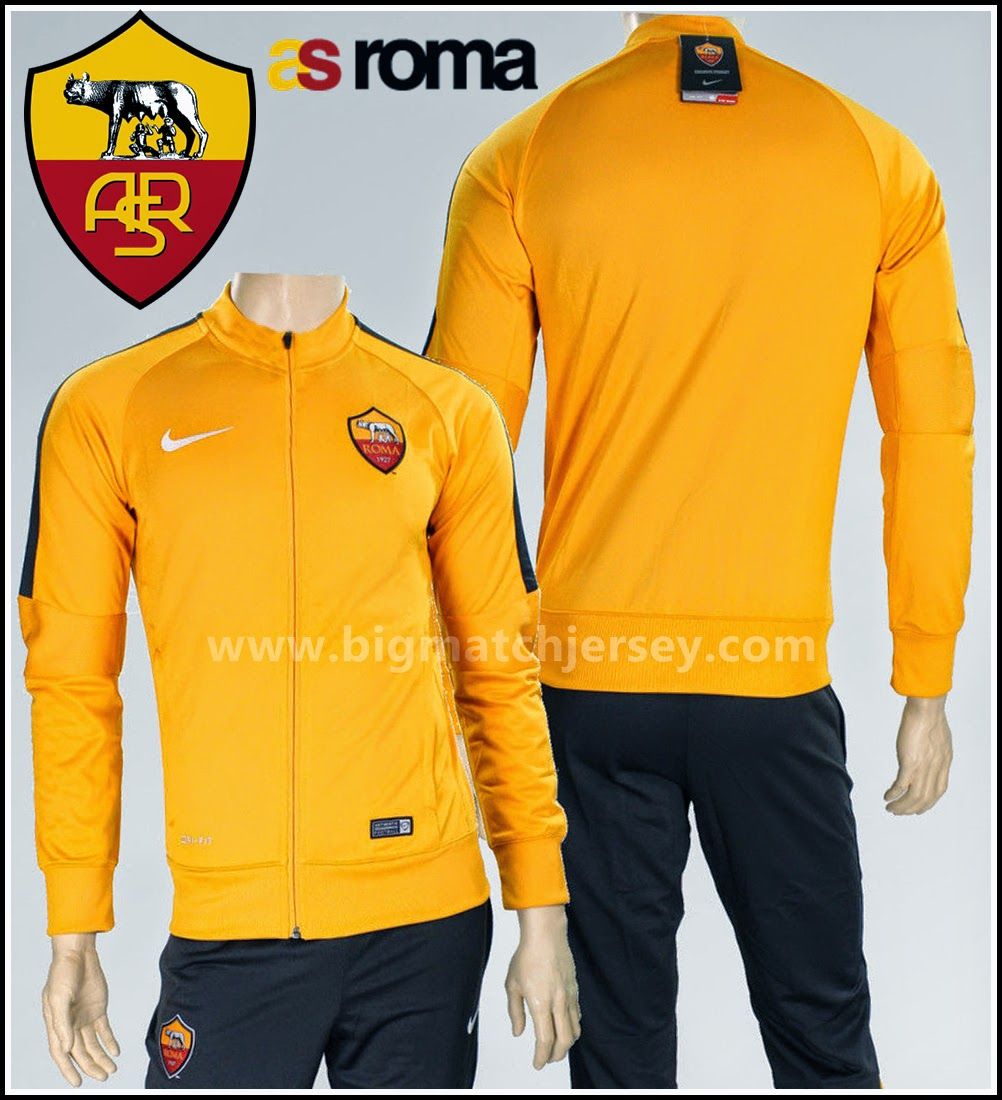 jaket as roma n98 yellow 2014 2015 big match jersey. Black Bedroom Furniture Sets. Home Design Ideas