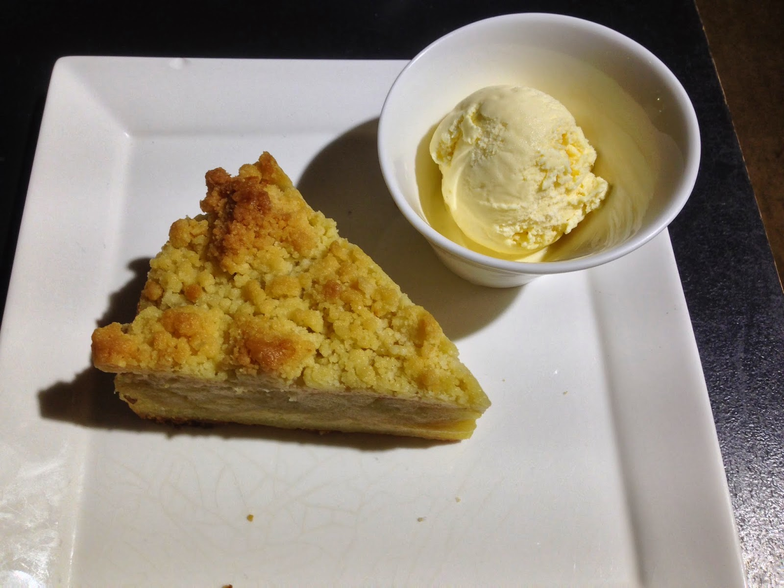 Apple Crumble Cake served with Vanilla Ice-Cream