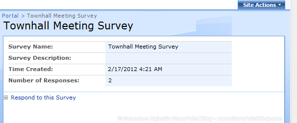 sharepoint 2007 survey hide results